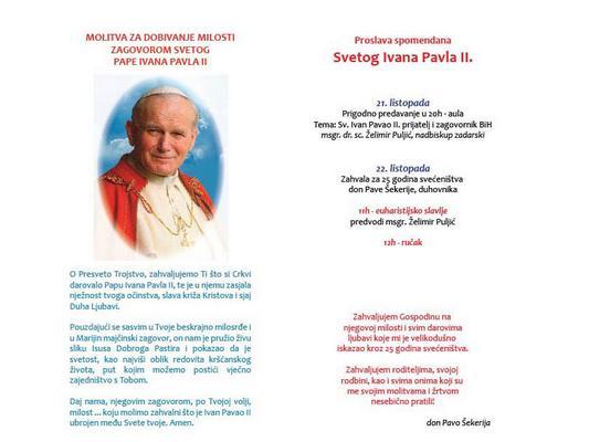 Spomendan svetog Ivana Pavla II. u Travniku