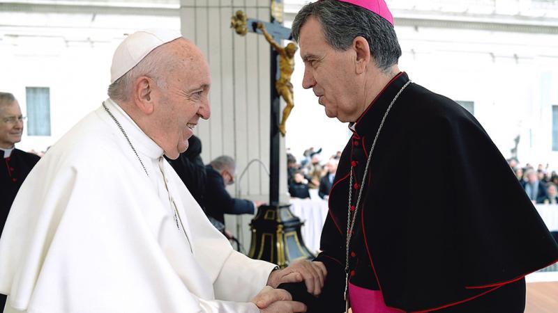 Nadbiskup Tomo Vukšić s papom Franjom